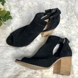 Sole Society Black Suede Leather Buckle Booties